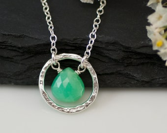 Chrysoprase Necklace - Gemstone Necklace - Gold Necklace - Hammered Circle Necklace - Gift for Her