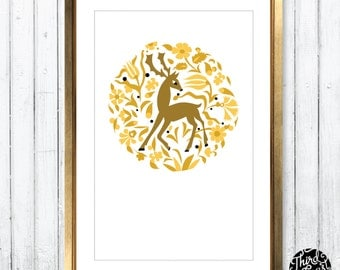 Woodland Deer Art Print (11x17)