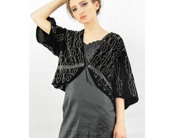 Vintage 1920's jacket /  Black velvet beaded bolero / Cropped evening jacket / Jazz age S M
