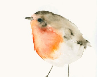 Red Robin Fine Art Print from Original Watercolor