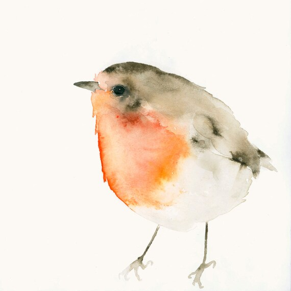 Red Robin Fine Art Print from Original Watercolor