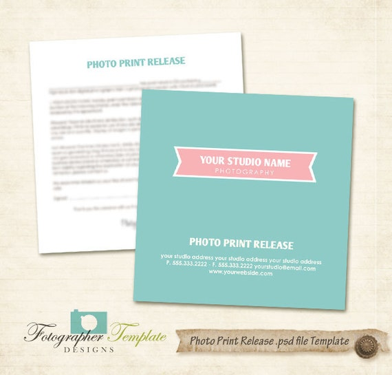 Photo Print Release Form Template Photography Forms Blue