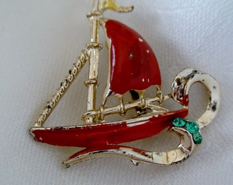 Antique Painted Sailboat Brooch, Green Paste Stones