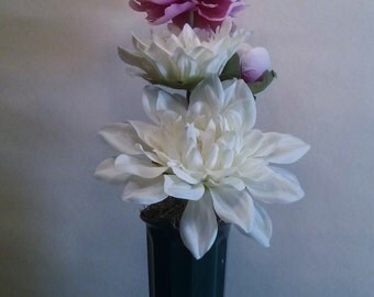 Memorial Flowers for Grave Decoration White Dahlias Pink Peony Cemetery Flowers Memorial Day Flower Arrangement Grave Flowers Decoration