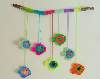 Crochet baby mobile PDF - fish crochet applique, crochet wall decor - Instant DOWNLOAD