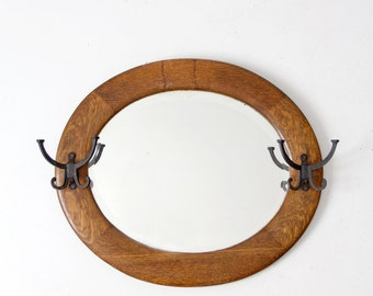 antique mirror, entry way mirror with hooks, oval wood frame mirror