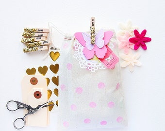 Stamped Glittery Wooden Clothespins -  LOVE