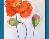 Large Original Painting in Soft Pastels . Poppies In My Garden . Wall Decor Art .