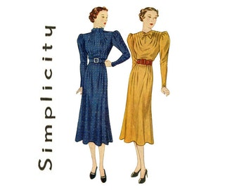 1930s Dress Pattern Simplicity 2222 Bust 38 Evening Flared Skirt Neck Waistline Seam Interest Edwardian Swing Womens Vintage Sewing Patterns