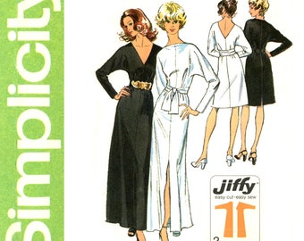 1970s Jiffy Evening Dress Pattern Uncut Bust 34 Simplicity 5363 Bateau or Plunge Neck Back Formal Maxi Dress Womens Vintage Sewing Patterns