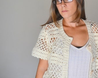 Crochet Cover Up Lacy Cardigan Sweater 1970s Vintage Summer Cream White Hippie Boho Top Medium Large