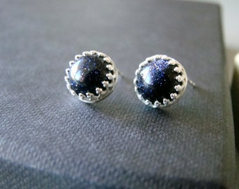 Night Sky , sterling silver post earrings with stone cabochons