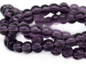 Beads : 40 Violet Crystal Round Glass Beads ... 8mm Diameter ...   12-inch Strand 8mm Dark Purple Transparent Glass Beads         52342