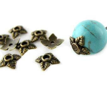 Bead Caps : 100 Antique Brass Leaf End Caps | Bronze Flower Bead Caps ... 6mm -- Lead, Nickel & Cadmium Free Jewlery Findings 018.N