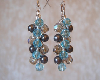 Blue and Grey Dangly Sparkly Earrings