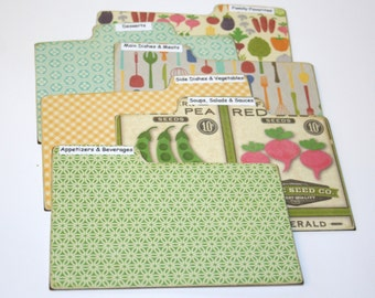 Divider Cards of Formica - Set of 6 Garden Veggies Prints Custom 4x6 Recipe Divider Cards