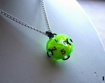 D8 Dice Die Pendant Necklace