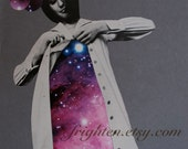 Space Art, Retro Paper Collage, Surreal Art, Purple and Gray, Collage on Paper, One of a Kind Art