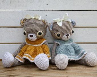 PATTERN - Doris the old-fashioned teddy bear - crochet pattern, amigurumi pattern, PDF