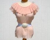 Vintage 60s Gauze Top / Boho Top / Ruffle Top / Peach Top / Cotton Gauze Shirt / Sleeveless Shirt / Hippie Top / 1960s Top