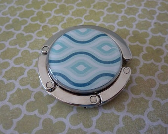 Foldable Purse Hook Blue Wave