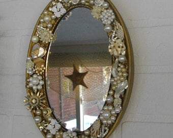 Hollywood Glamour Rhinestone Oval Mirror Girls Room Dressing Room OOAK Sparkly Jewelry Mirror Bedazzled Mirror