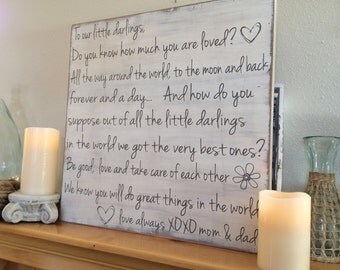 to our little darlings.... 24x24 wood sign - great for child's room or anywhere!