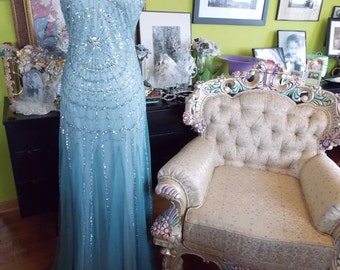 Pale blue rhinestone flapper inspired wedding dress
