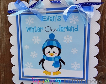 Mr. Blue Penguin Collection Door Sign, Party Sign, Hanging Sign -Penguin -Christmas -Seasonal -Baby Shower -Birthday