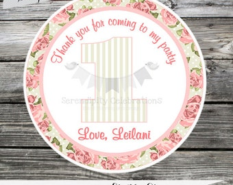 Set of 12 Personalized Favor Tags -Shabby Chic Rose- Roses-Vintage-Thank You Tag -Gift Tag -Baby Shower -Birthday-Sticker-Flowers-Pink