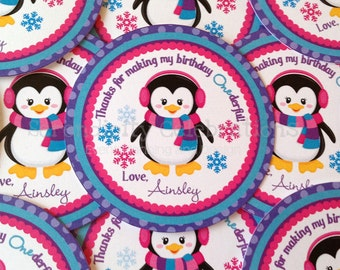 Set of 12 Personalized Favor Tags -Jeweled Penguin -Thank You Tag -Gift Tag -Baby Shower -Birthday-Sticker-School Treats -Penguin Tags
