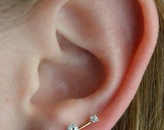 Earring Pin Mini CZ - 14K Gold Filled and Sterling Silver - Single or Pair