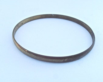 Vintage Brass Bracelet Single Bangle One Stackable Thin Slim Plain Unadorned Patina Wrist Adornment Villacollezione