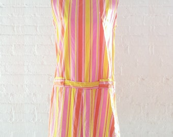 1960s Pink Red Striped Shift Dress 60s Vintage Mod Mini Dress Multicolor Drop Waist Rainbow Cotton Sundress Large XL Summer Scooter Dress