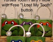 """Ninja Tooth Fairy Pillow & FREE """"I Lost my Tooth""""Button, plush,embroidered, Teenage Mutant Ninja Turtle Tooth Fairy Pillow"""
