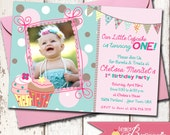 Our Little Cupcake Girl's Birthday Party Photo Invitation - DIY Printable Invite - Aqua, Pink, Lavender, Purple - 1st, 2nd, 3rd Birthday