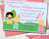 Princess Theme Birthday Party Invitation - DIY Printable Invite - Disney Princesses - Roller Skating Party - Cinderella, Sleeping Beauty