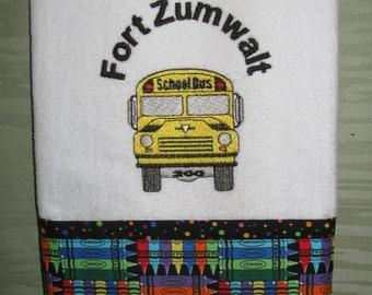 Handmade embroidered School Bus towel.