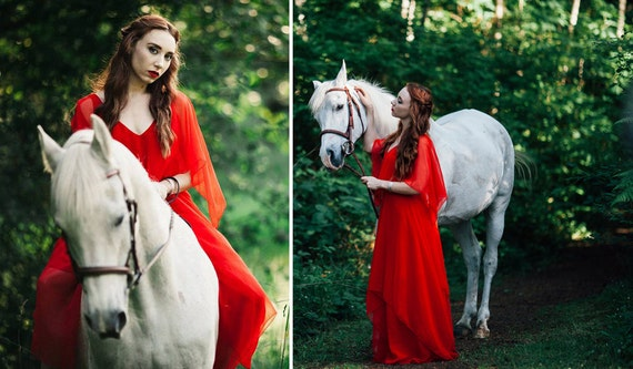 Vintage 1960s Dress - KIKI HART Red Chiffon Tiered Maxi Gown - Medium