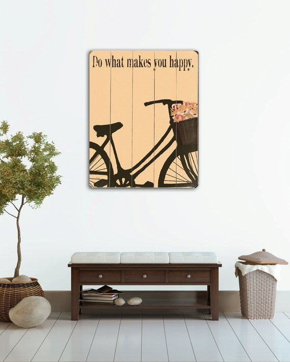 Do What Makes You Happy  planked wooden art sign wall decor