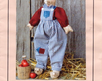 90s This Little Piggy 14 Inch Pig Doll Pattern by The Country Cottage Designed by Nancy Lackender UnCut Primitive Piggy Pattern