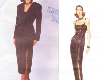 90s Anne Klein Womens Jacket, Bodysuit & Skirt Vogue Sewing Pattern 1262 Size 6 8 10 Bust 30 1/2 to 32 1/2 UnCut Vogue American Designer