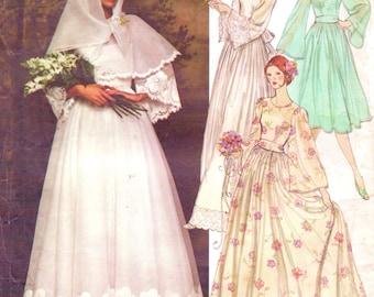 1970s Nina Ricci Womens Boho Bridal Dress, Belt, Slip and Scarf Vogue Paris Original Sewing Pattern 1363 Size 12 Bust 34 Wedding Dress