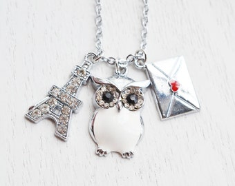 eiffel tower necklace,owl pendant,silver envelope love letter,french gift,romantic gift,valentines gift,bridesmaid necklace,paris necklace
