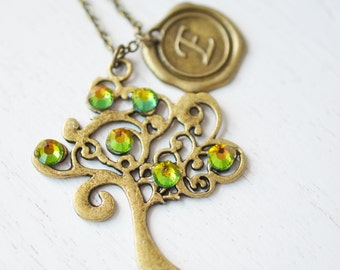 Personalized tree of life jewelry, tree pendant, woodland, family tree necklace, initial necklace, bff best friend, christmas gift, wedding