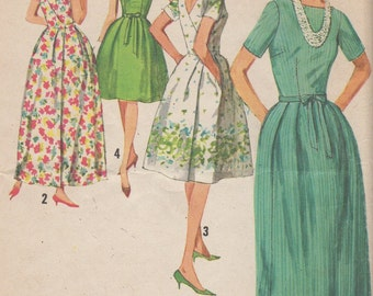 1960's Misses' Wrap-Around Dress Simplicity 5034 Size 14 Bust 34