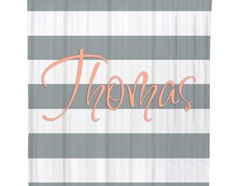 Personalized Shower Curtain Bathroom Decor Custom Classic Modern Wide Stripes Name Initial Monogram Housewarming or Wedding Gift