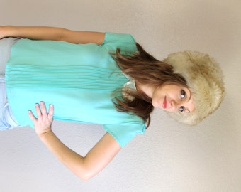 vintage 60s TUSCAN lambskin SHEARLING LAMB Fur Hat hippie Italian cream ski apres boho