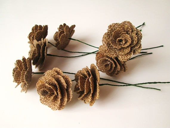 12 Burlap Flowers with Stems - Rustic Wedding Decoration, Home Decoration, Craft Projects, Card Making, Home and Special Occasion Decoration