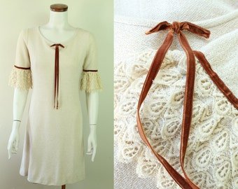 Vintage 60s - Jonathan Martin - Ivory Cream Knit - Crocheted Lace - Ruffle - Belled Sleeves - Brown Velvet - Trim & Bow - A Line Dress